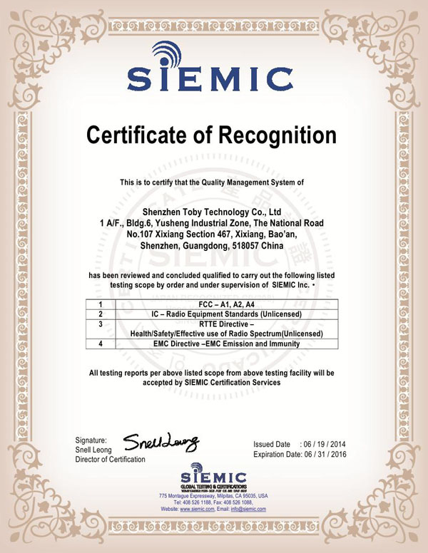 SIEMIC authorization certificate